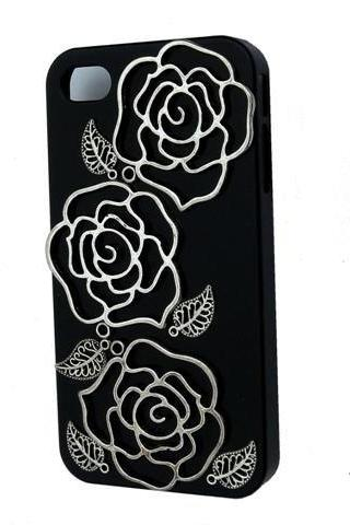 Artist Silver Metal Rose Black Case For iPhone 4 4s
