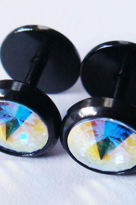 3-color to choose 16g PAIR 0 Gauge Fake Ear Plugs Ring Korean Earrings 0g~8mm Body Piercing Jewelry