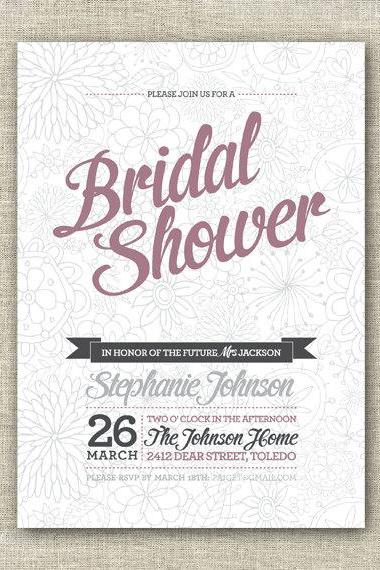 Bridal Shower Invitation Card - Printable Digital File