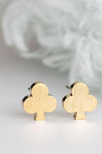 Gold Club Card Stud Earrings, Whimsical Jewelry