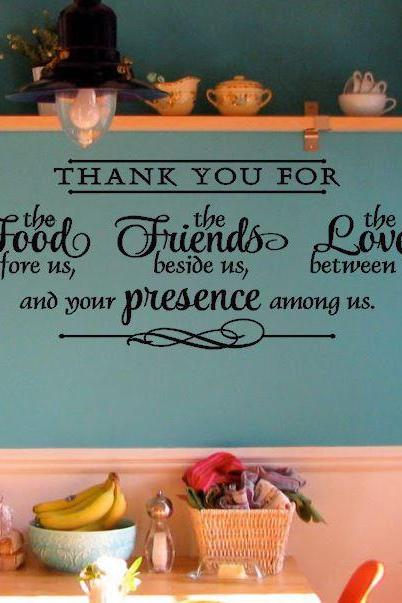 Thank you for the Food, Friends and Love Kitchen Decal