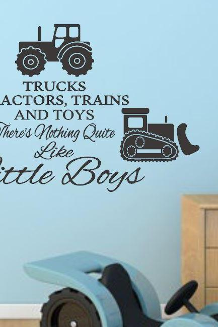 Trucks, Tractors, and Toys Boys Bedroom Wall Decal