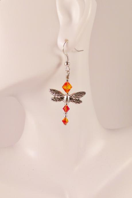 Fire Fly Dragon Swarovski Earrings