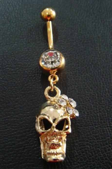 14g Skull Belly Button Navel Rings Ring Bar Body Piercing Jewelry GIFT