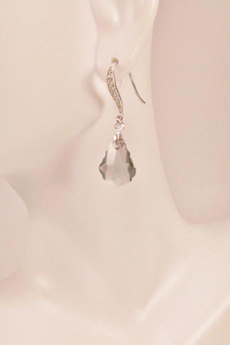 Smokey Swarovski on Silver with Cubic Zirconia Earrings