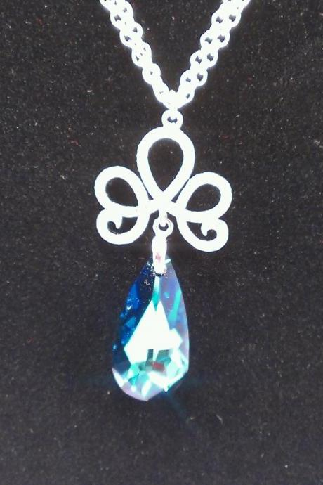 Silver Mark Blue Stone Swarovski Silver Necklace