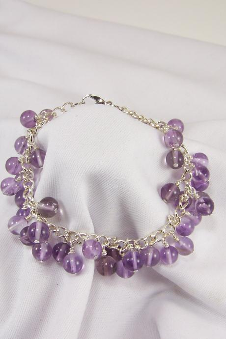 Bunches of Amethyst Grapes on Silver Bracelet