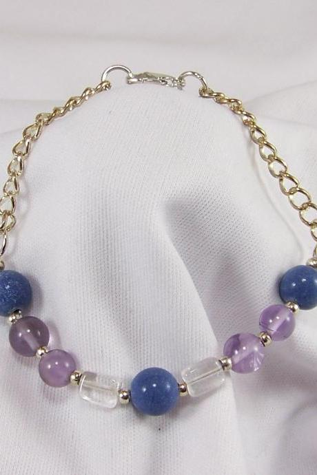 Amethyst, Quartz, and Blue Quartz on Silver Bracelet