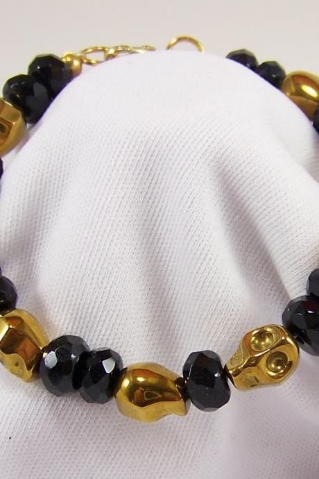 Day of the Dead gold skull Bracelet