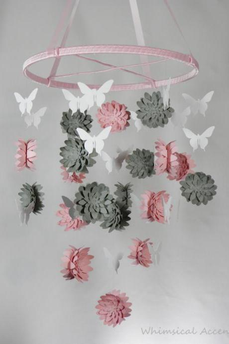 Dahlia and Butterfly Paper Nursery Mobile in Pink, Gray and White