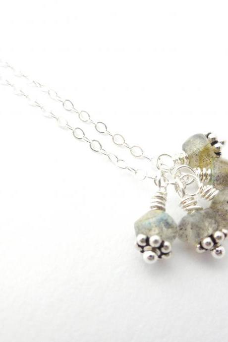 Labradorite Cluster Necklace in Sterling Silver