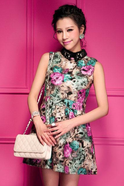 Vintage Mandarin Collar Sleeveless Flower Print A Line Dress