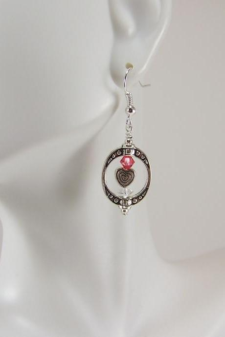 Valentines Swarovski Heart Earrings