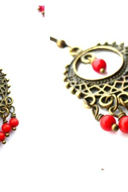 Red Coral and bronze Bohemian chandelier earrings. Dangle jewelry.