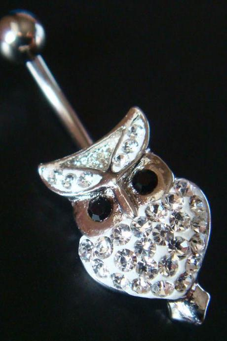 Bling Cute Owl Crystal Gem Belly Button Navel Rings Bar Body Piercing