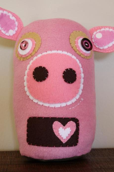 BOObeloobie Pai Pai the Pig in Pink, Cream, Chocolate Brown and white