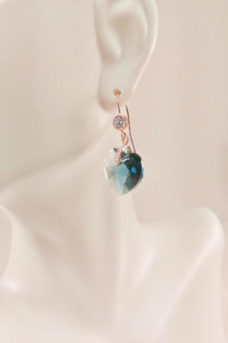 Glacier Blue Swarovski Heart on Gold with CZ Earrings