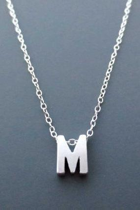 Silver Initial, Sterling silver, Chain, Personalized, Capital Letter, Necklace