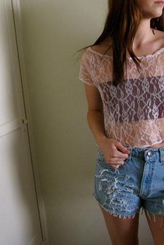Pink Lace See Through Crop Top