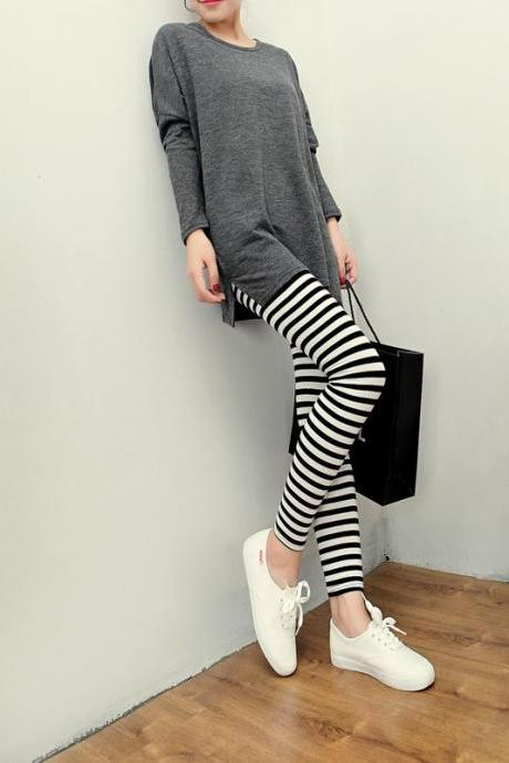 Striped Color Block Stretchable Leggings