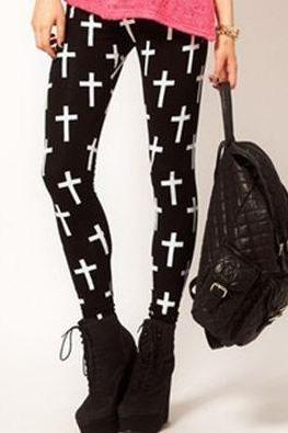 Cross Print Stretchy Leggings