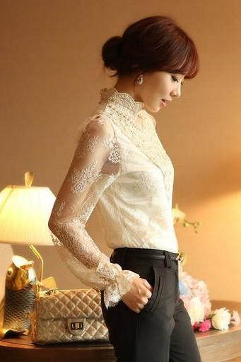 Elegant Pearl Studded Lace Flower Long Sleeve Blouse