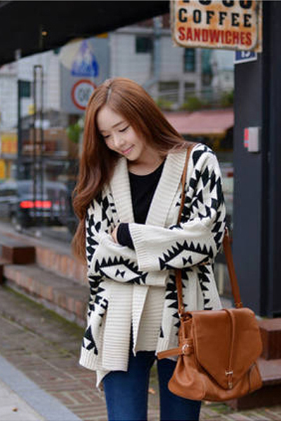 Cute Aztec Print Wool Sweater
