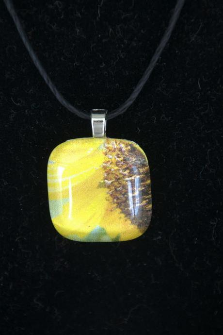 Sunshine Head Glass Pendant on Black Cord