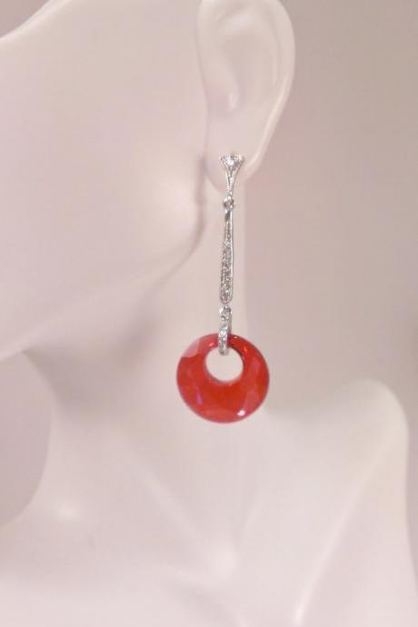 Silver Cubic Zirconia and Red Swarovski Crystal Earrings