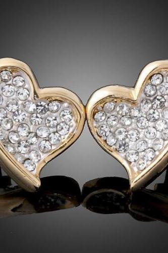 18K GP Crystal Heart Earrings