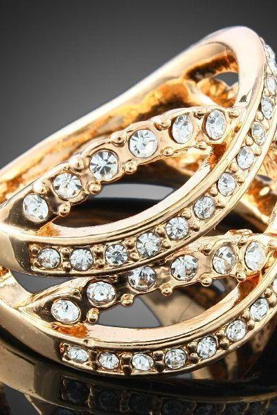 18k Rose Gold Plated Braided Design Crystal Ring