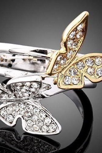 18K WGP Butterfly Crystal Ring