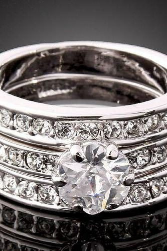 18k White Gold Plated Swarovski 3-in-1 Crystal Ring