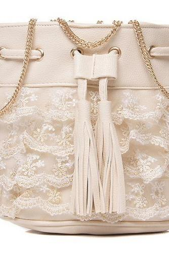 womens bags fashions Layer-by-Layer Embroidering Lace handbag Barrel-shaped Sling shoulder bag 5979
