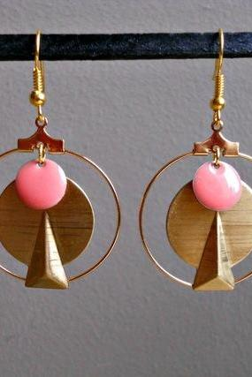 Graphics tassel earrings coral geometric trendy gold metal pink enameled