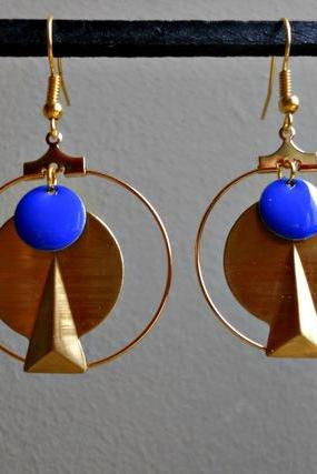 Graphics tassel earrings electric neon blue enamel