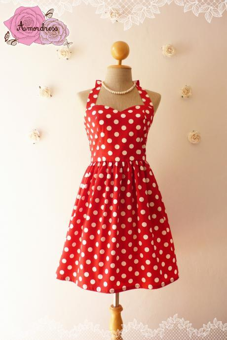 Red Summer Dress Red Party Dress Polka Dot Dress Vintage Inspired Dress Dot Pin Up Dress Minnie Once Upon a Time -Size XS,S,M,L,XL