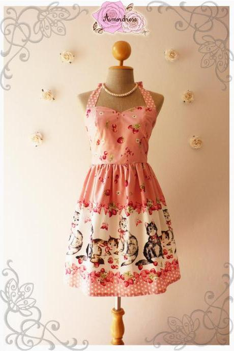 Vintage Inspired Dress Tea Dress Pretty Pink Kitten Dress The Cat Dress Cute Frock Party Dress -Size XS,S,M,L,XL,