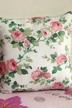 1PCS 19' Beautiful Floral Cloth Pillow Cushion Cover For Sofa or Bed P25(pink)
