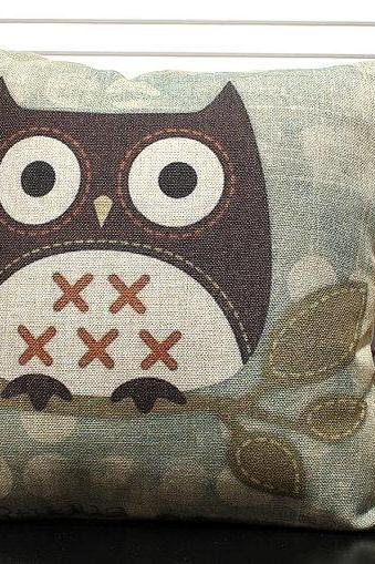 Novelty Lovely Bird Cartoon Owl pattern cushion cover throw pillow case