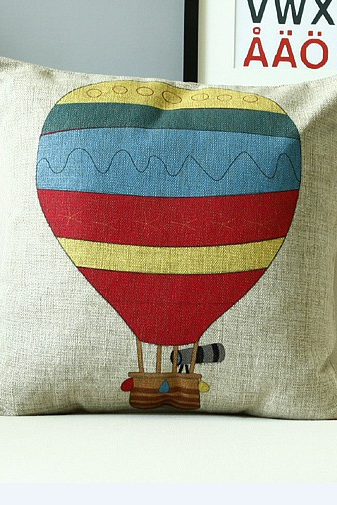 Novelty Stripe checked plaid hot air balloon pattern hand made cushion cover home car kids room throw pillow case