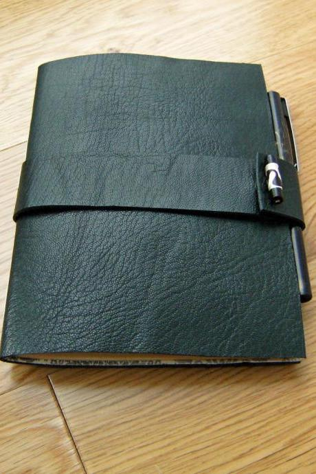 Deep Green Leather Chapbook Journal Notebook - Valentines Day Gift