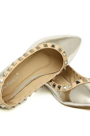 Pointed-Toe Metallic Flats with Rivet Detailing