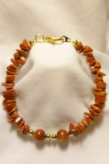 Gold Stone Chip and Bead Bracelet