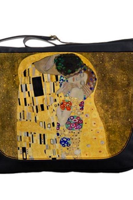 Gustav Klimt The Kiss Painting Artsy 14' Messenger Laptop Notebook Tablet Computer School Sling Shoulder Bag Handbag Tote Custom Made
