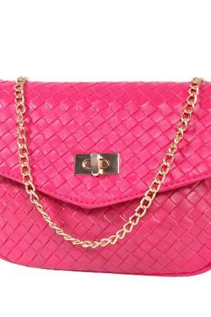 Chic Messenger Bag with Gold Chain
