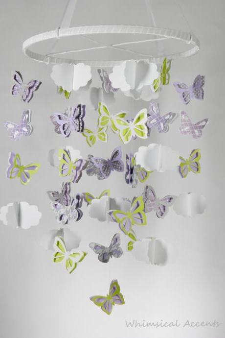 Butterflies and Clouds Nursery Decorative Mobile