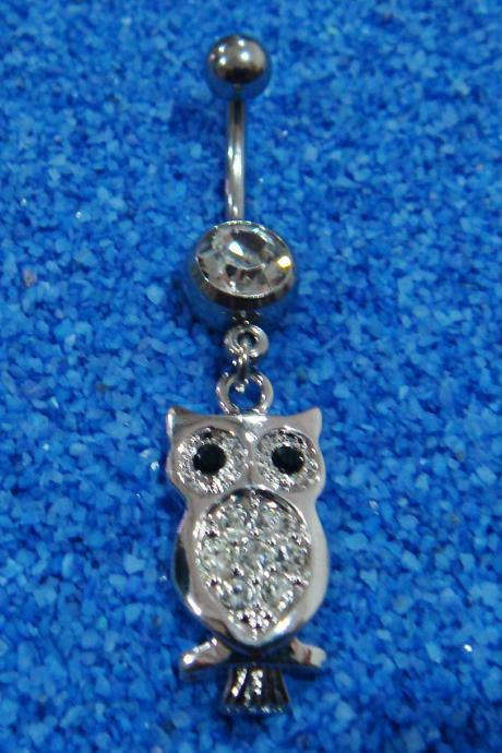 Bling Owl Crystal Gem Belly Button Navel Rings Bar Body Piercing
