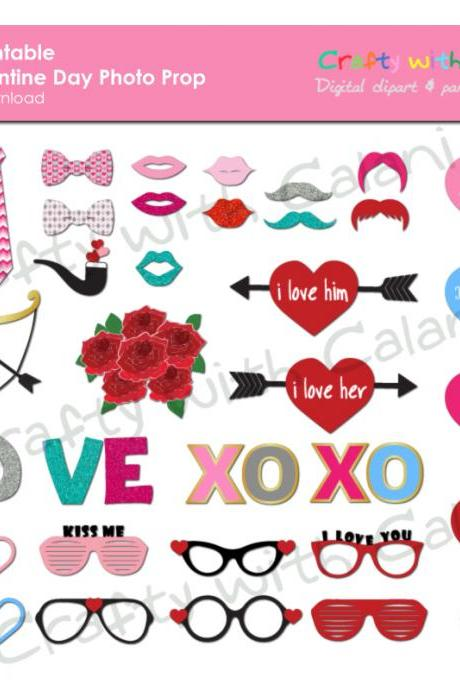 Valentine's Day Photo Booth Prop, Instant Download, Party Printable, 36 ready print images - LOVE, XOXO, Hearts, Cupid's Arrow