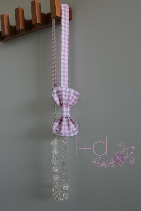 Women's Pink & Tan Gingham Bowtie Necklace